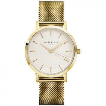 Eine klassische, goldene Armbanduhr im Mesh-Look aus Edelstahl - designt vom internationalen Label ROSEFIELD und mit auswechselbarem Armband.