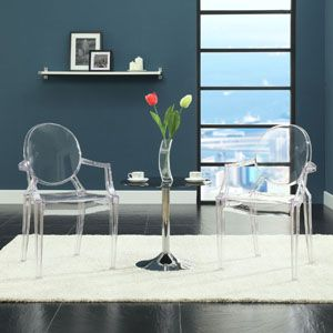 Philippe Starck Style Louis Ghost Chair in Clear   121-CLR by LexMod  Outdoor dining chairs?