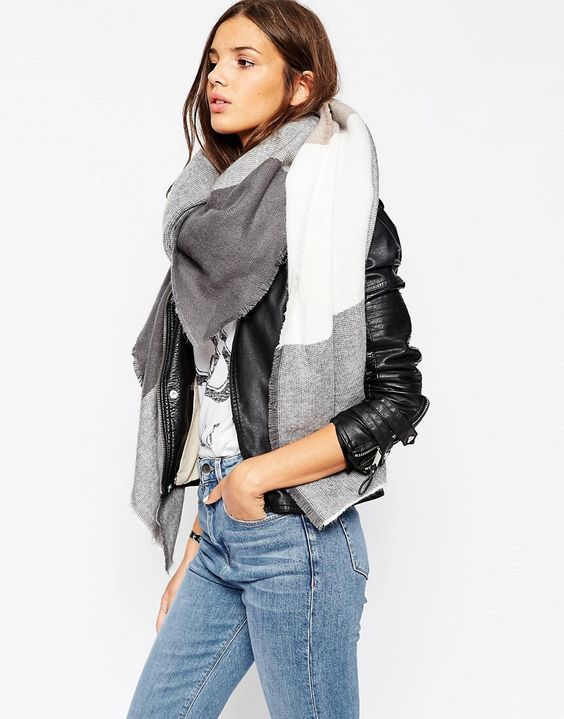 Image 1 ofASOS Oversized Square Scarf In Oversized Blown Up Check