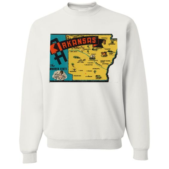 Vintage State Sticker Arkansas Crewneck Sweatshirt - California Republic Clothes