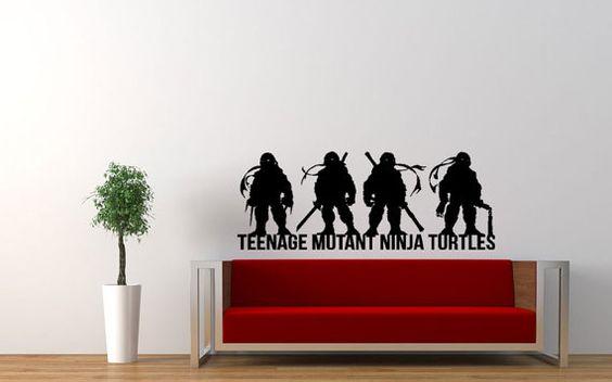 Teenage Mutant Ninja Turtles arte parete interna / vinile adesivo. Perfetto per qualsiasi camera da letto, soggiorno, dormitorio, cave man in casa!