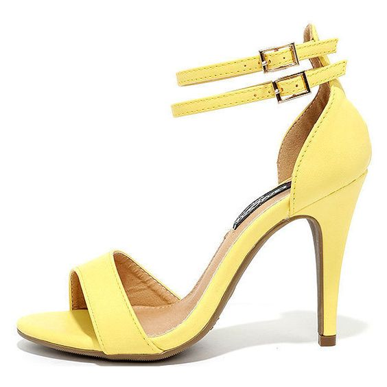 Uplifted Yellow Ankle Strap Heels (1,280 DOP) ❤ liked on Polyvore featuring shoes, pumps, yellow, asymmetric shoes, vegan shoes, ankle strap pumps, vegan footwear and vegan leather shoes