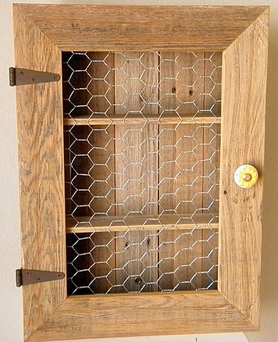 Country Cabinet Rustic Spice Cabinet With Chicken Wire Country Kitchen Cabinet Bathroom Storage