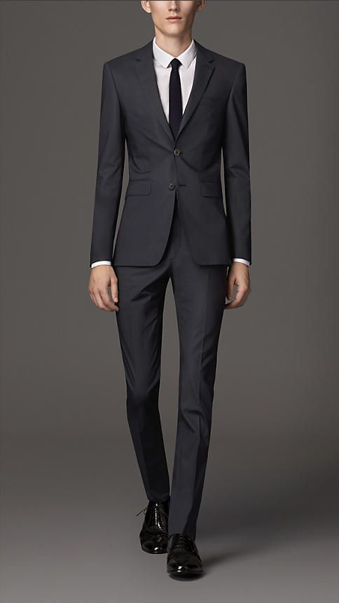 Burberry Navy Slim Fit Cotton Suit - A slim fit suit in