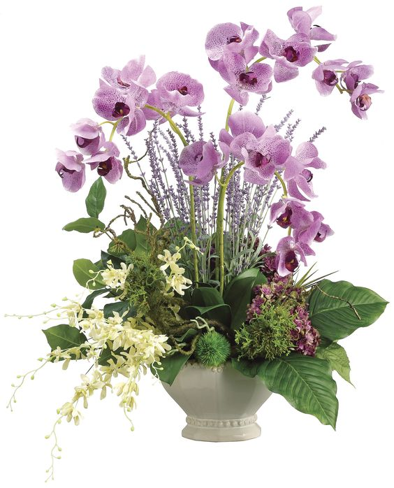 Phalaenopsis Orchid, Dendrobium Orchid and Hydrangea Arrangement: