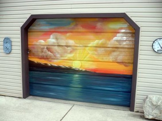 Garage wall murals sunset beach wall murals inspiration for Beach sunset mural