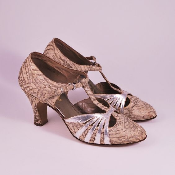 vintage shoes 1920 | Vintage 1920s Silk Brocade and Silver Leather by ladykitschener