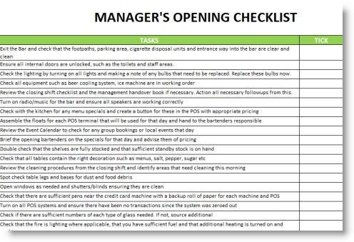 restaurant manager opening and closing checklist - Google Search