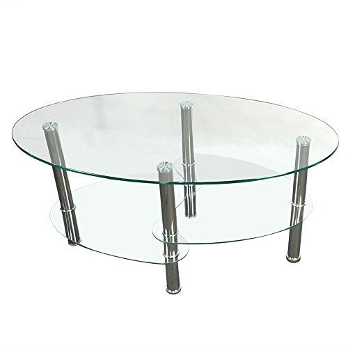Hobbyn Coffee Table Dual Fishtail Style Tempered Glass Coffee