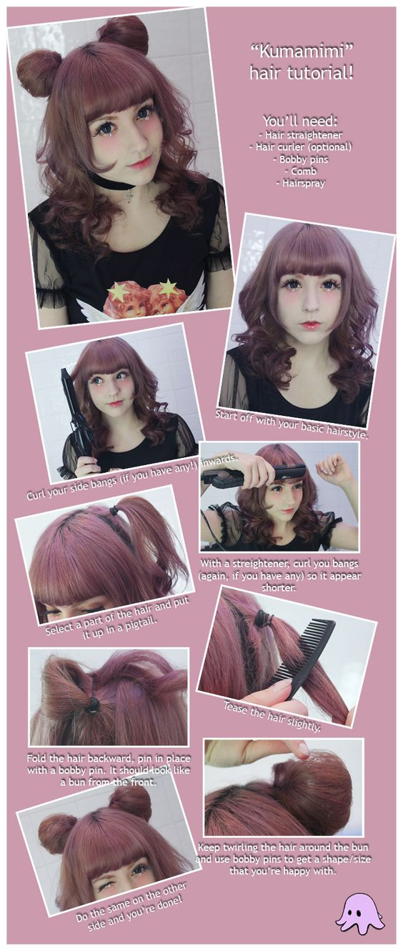 japanese anime hair tutorial kawaii hairstyle credits to
