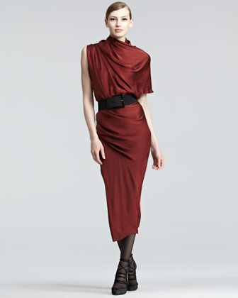 Draped Satin Midi Dress by Donna Karan at Bergdorf Goodman. That's some beautiful draping.