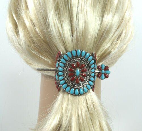 Southwest Bohemian Turquoise Blue Color Squash Blossom Hair Barrette Hair Stick