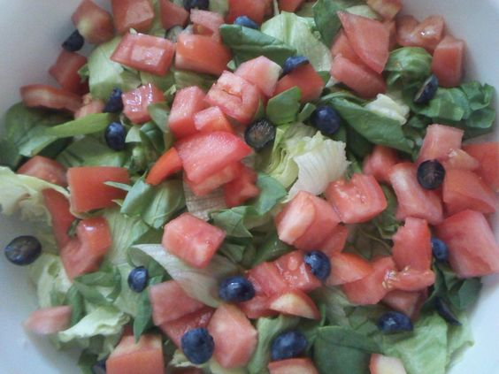 Simple garden salad with blueberries