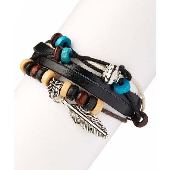 Meri Jewelry Black Feather Leather Bracelet ($8.99) ❤ liked on Polyvore featuring jewelry, bracelets, leather bangle, leather jewelry, charm bangle, black jewelry and leather charm