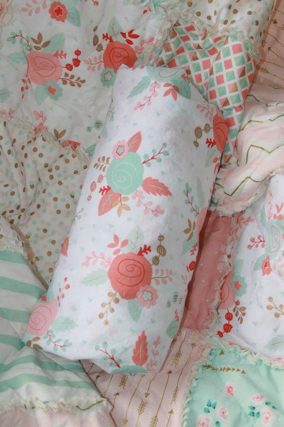 Crib Sheet Baby Girl Crib Bedding Peach Mint Gold Nursery by justluved on Etsy https://www.etsy.com/listing/269853620/crib-sheet-baby-girl-crib-bedding-peach