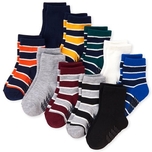 S Baby And Toddler Boys Striped Crew Socks 10 Pack Multi The Children S Place Quarto Bebe