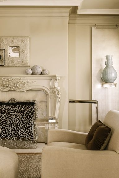 Phillip Silver - Interior Designer - San Francisco - Contemporary - Neoclassical - Living Room - Neutrals - White - Cream - Upholstered Chair - Vase - Display - Fireplace - Frame