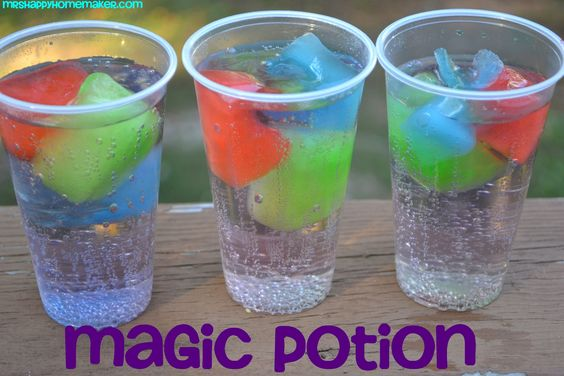 Magic Potion. Koolaid ice cups with sprite. As the ice cubes melt, the 'potion' will turn cool colors & change flavors too! When the KoolAid cubes are frozen, pop at least one of each into clear cups & top with lemon-lime soda.