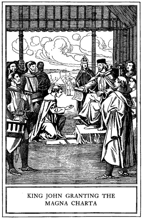 King John (aka John Lackland, brother of Richard the Lion Hearted) signs the Magna Charta, June 1215, at Runnymede, on theThames.