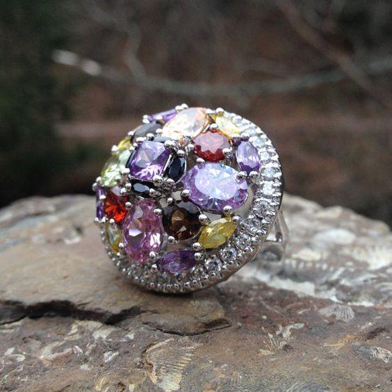 Vintage Sterling Silver Cluster Ring  by WhistlingGypsyVTG on Etsy