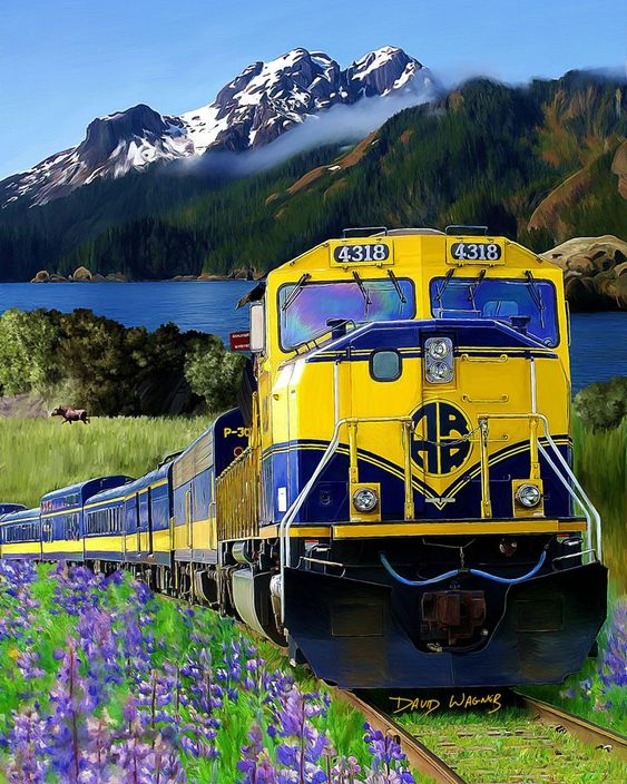 Alaska Railroad- sight seeing train ride from Anchorage to Fairbanks. AK USA                                                                                                                                                     More
