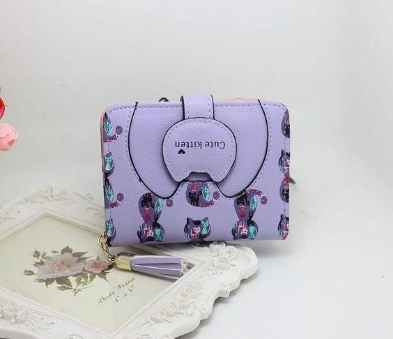 fashion cute cat sweet women girl sac femme short wallet porte monnaie zip hasp clutch Two folded Purse