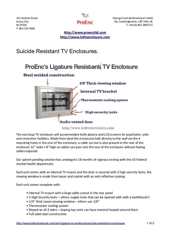 ProEnc anti-ligature tv enclosures for sale