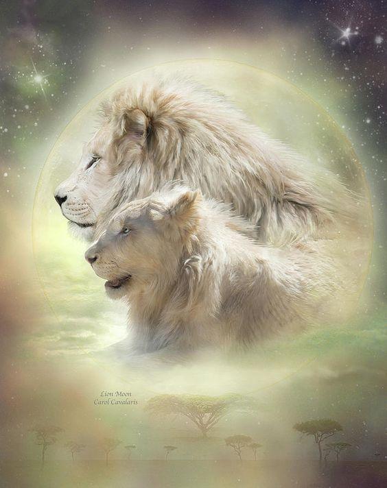 images of art by Carol Cavalaris | Lion Moon Mixed Media by Carol Cavalaris - Lion Moon Fine Art Prints ...