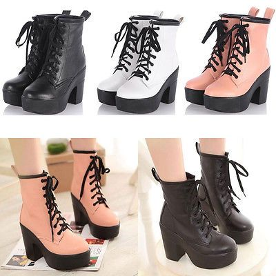 New Women&39s Platform Block high Heels Ankle Boots Lace Up Goth
