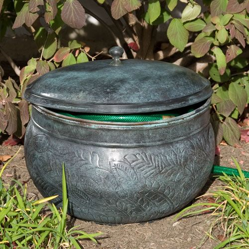 This copper hose pot lid would look perfect in my garden