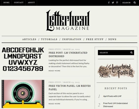 Besides creating unique fonts, our Contributors also have their own sites. Check out Letterhead Magazine from Denise Bayers: http://letterheadmagazine.com for design tips and free downloads.