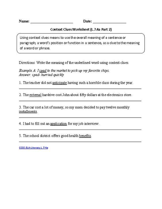 Context Clues Worksheet 2 ELALiteracyL74a Language Worksheet – Vocabulary in Context Worksheets