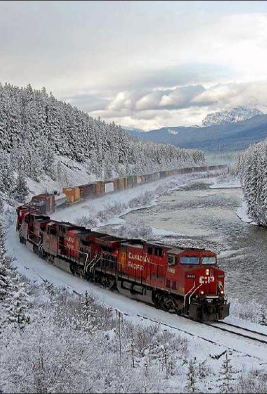 Trem em Alberta, no Canada: trilhos do Pacífico Canadense. Destino de lua de mel para casais que preferem o inverno.