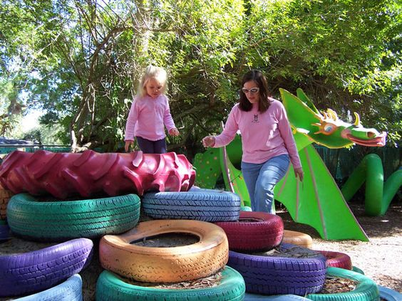 This is a great way to recycle old tires and let kids climb and practice balance and coordination.  Let the children help paint the tires.