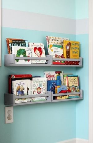 IKEA spice racks used for bookshelves