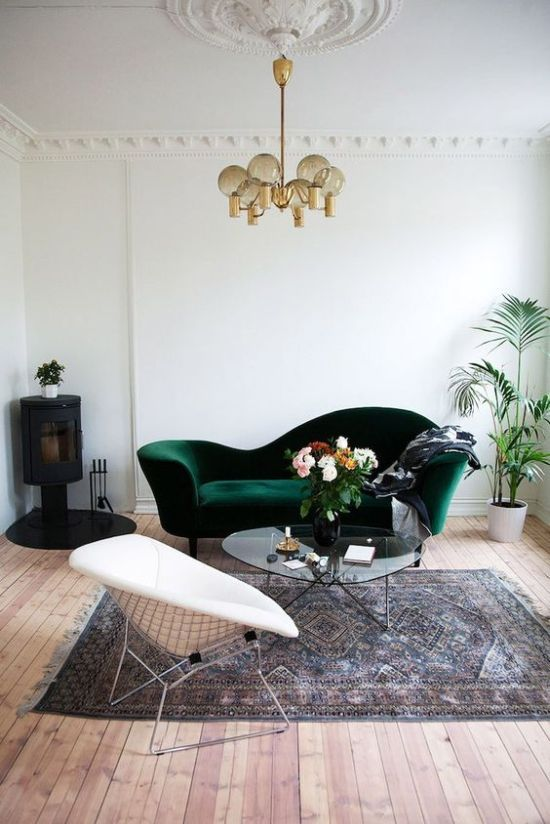 Vintage Dark Green Velvet Sofa