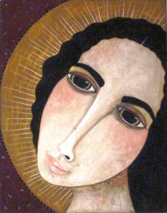"Innocence / 20"" x 15.75"" / ©2006 / pigmented wood panel by Virginia Maria Romero / SOLD"