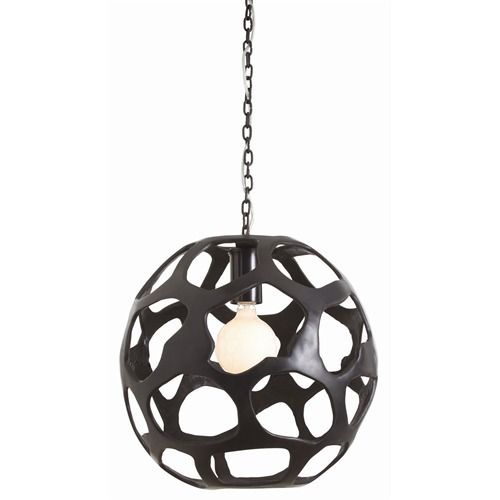 Sphere sculpture-like pendant with asymmetrical honeycomb cut-outs in black oxidized iron | domino.com