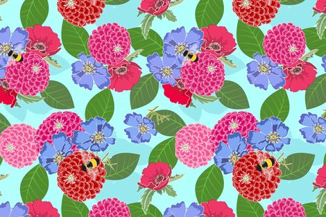 Melody's Zinnias fabric by shellypenko on Spoonflower - custom fabric