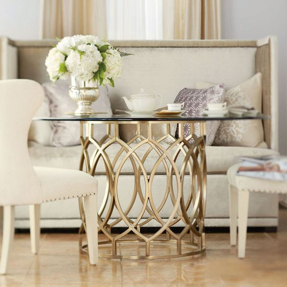 I am in love with this table.. Bernhardt | Salon Dining Table with Glass Top (341-773, 341-773G)