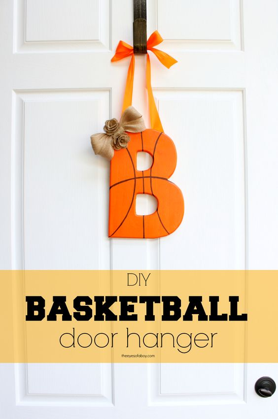 Liven up your home decor and make this adorable DIY monogram basketball door hanger to show off your basketball spirit! Step by step tutorial with photos...