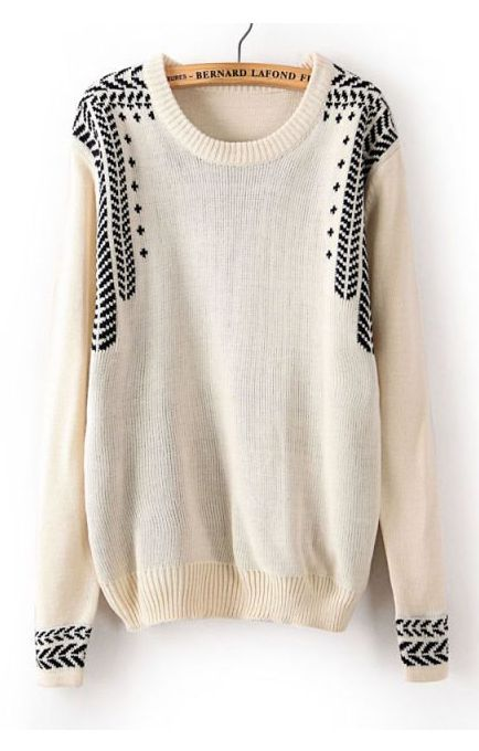 Jacquard Weave Pullover Sweater: I love the detailing on the bust, shoulders and cuffs. Makes this simple jumper into something spectacular.
