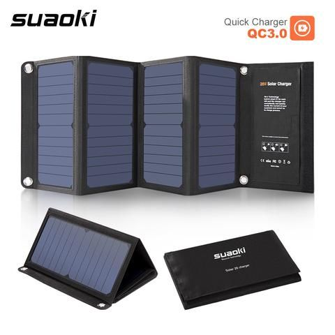 Suaoki 28w Portable Solar Panel Charger With Qc 3 0 Quick Charging 3 Usb Port 3 1a Output Solar Panel Charger Solar Charger Solar Charger Portable