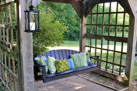 Outdoor bench swing with Pier 1 pillows
