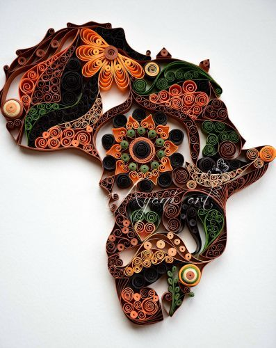 papel quilling continente, quilling papel, quilling design, áfrica quilling…