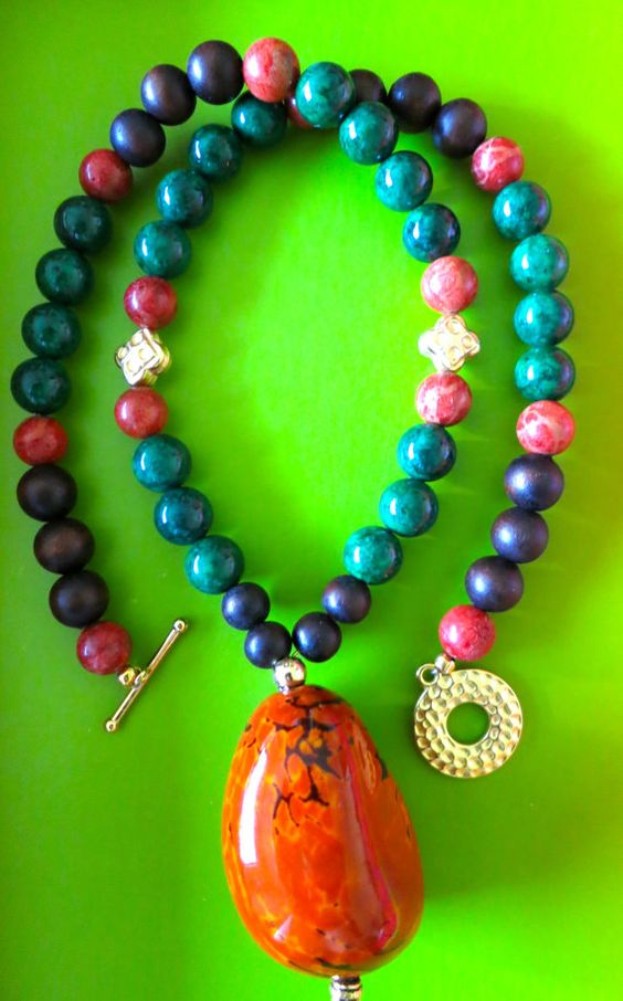 Agate Bead Necklace with Gold Fill Accent Pieces by IrisMDesigns, $50.00