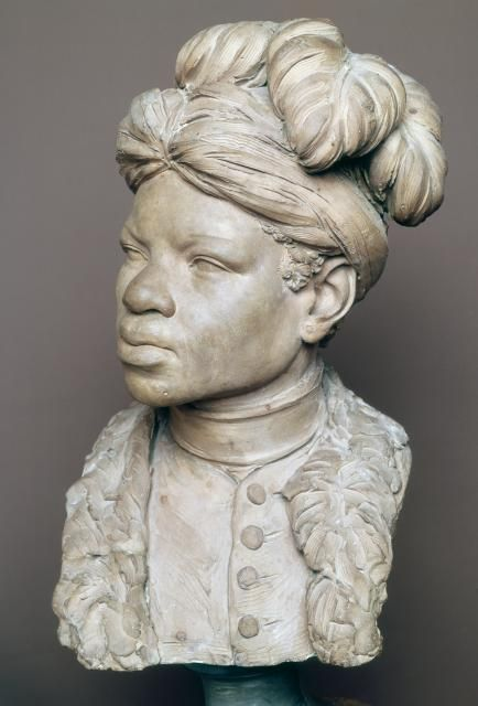 Jean-Baptiste Pigalle Paul France (1760) Terracotta Portrait Bust, 61 cm. Read more about Paul, an enslaved man in Pre-Revolutionary France, here.: