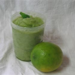 "Basil-Lime Sorbet by Mark Logan- ""This delicious sorbet combines basil and lime in a perfect, light dessert."""