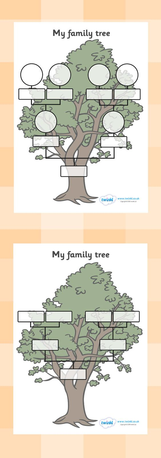 Kindergarten family tree worksheets my family tree for Preschool family tree template