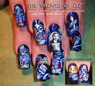 Lions and tigers and wizard of oz themed nail art... oh my! Too cool!